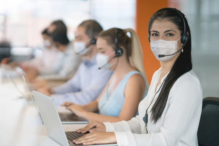 Inbound call center agent wearing mask