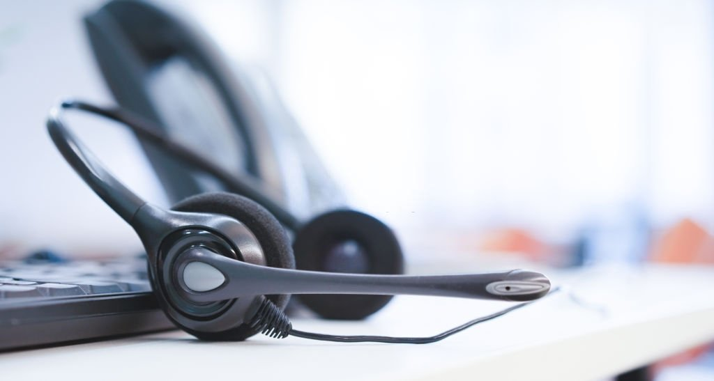 close up headset of call center and VOIP